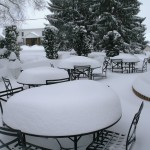 Based on the snow on the tabletops on the patio, we think we got about 18 inches of snow.